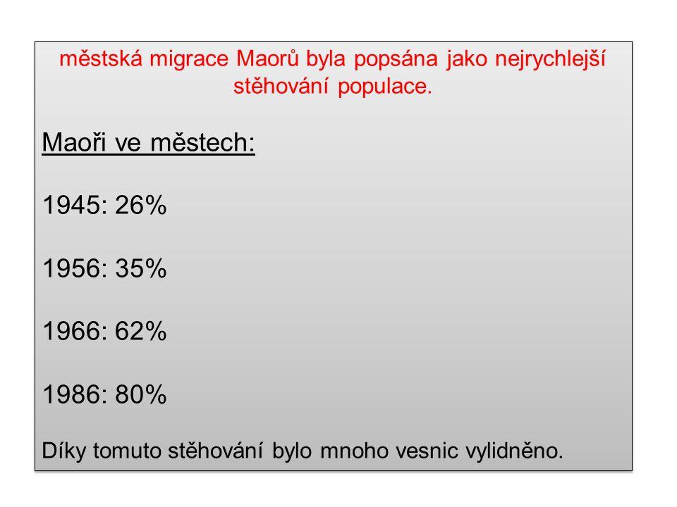 Maoři ve městech: 1945: 26% 1956: 35% 1966: 62% 1986: 80%
