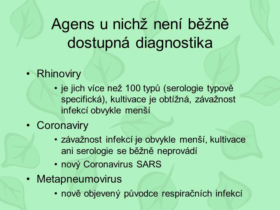 Agens u nichž není běžně dostupná diagnostika