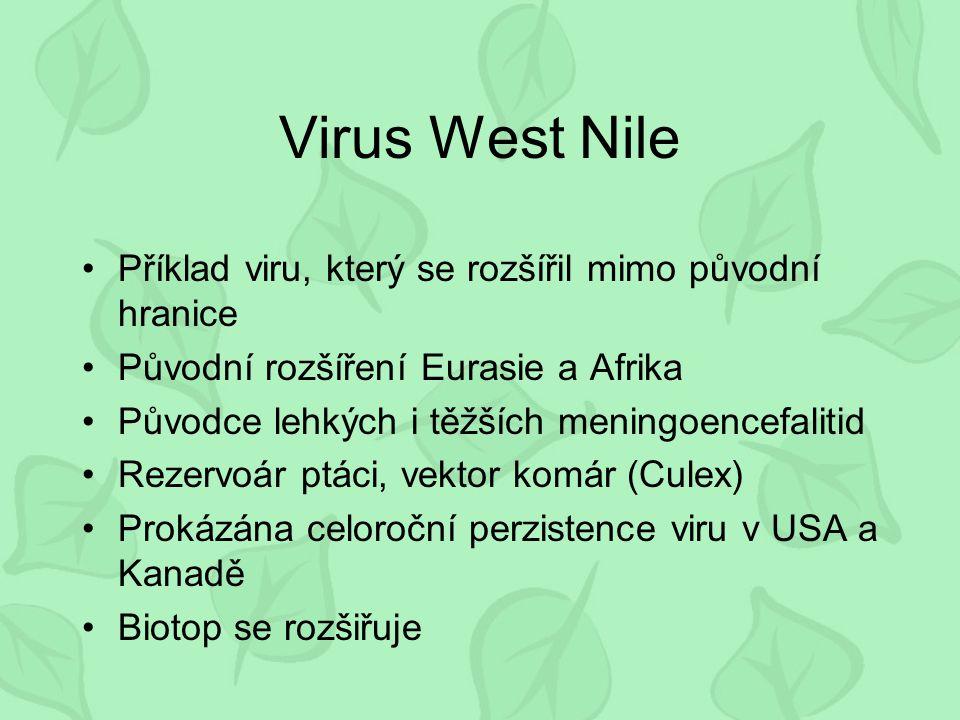 Virus West Nile Příklad viru, který se rozšířil mimo původní hranice