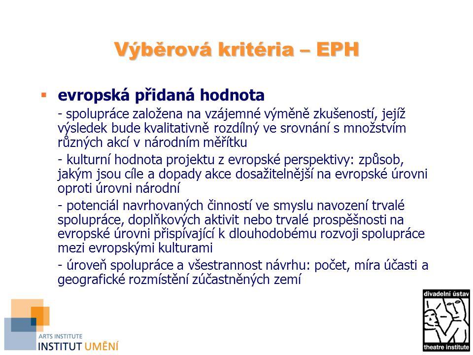 Výběrová kritéria – EPH