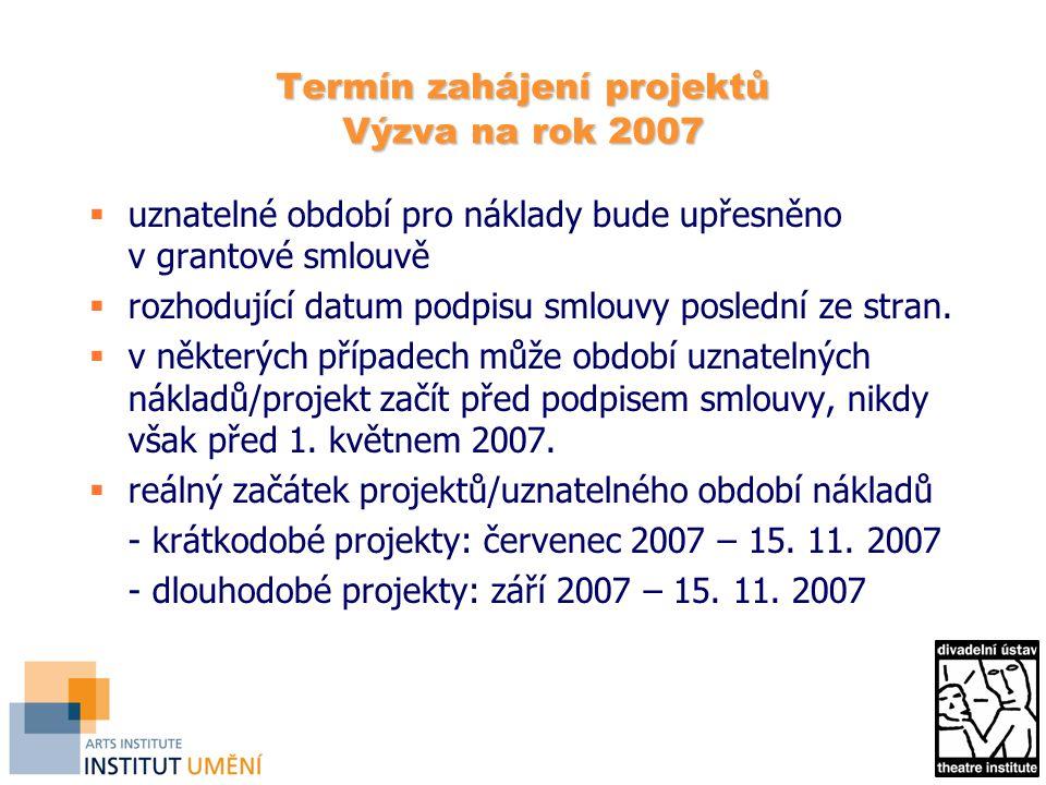 Termín zahájení projektů Výzva na rok 2007