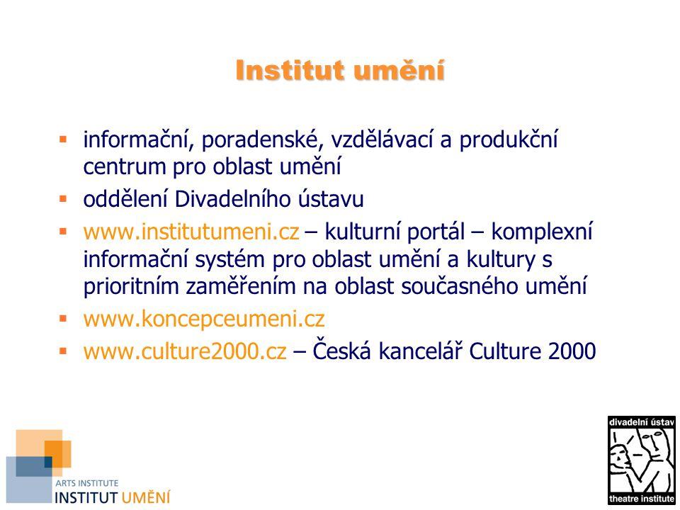 Institut umění informační, poradenské, vzdělávací a produkční centrum pro oblast umění. oddělení Divadelního ústavu.