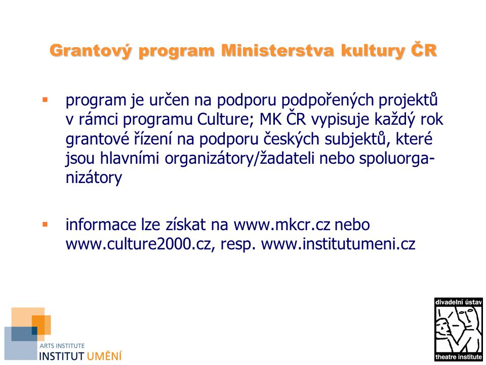 Grantový program Ministerstva kultury ČR