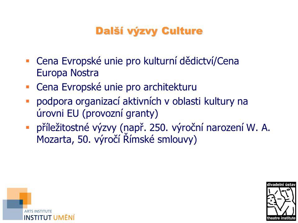 Další výzvy Culture Cena Evropské unie pro kulturní dědictví/Cena Europa Nostra. Cena Evropské unie pro architekturu.