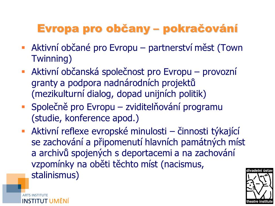 Evropa pro občany – pokračování