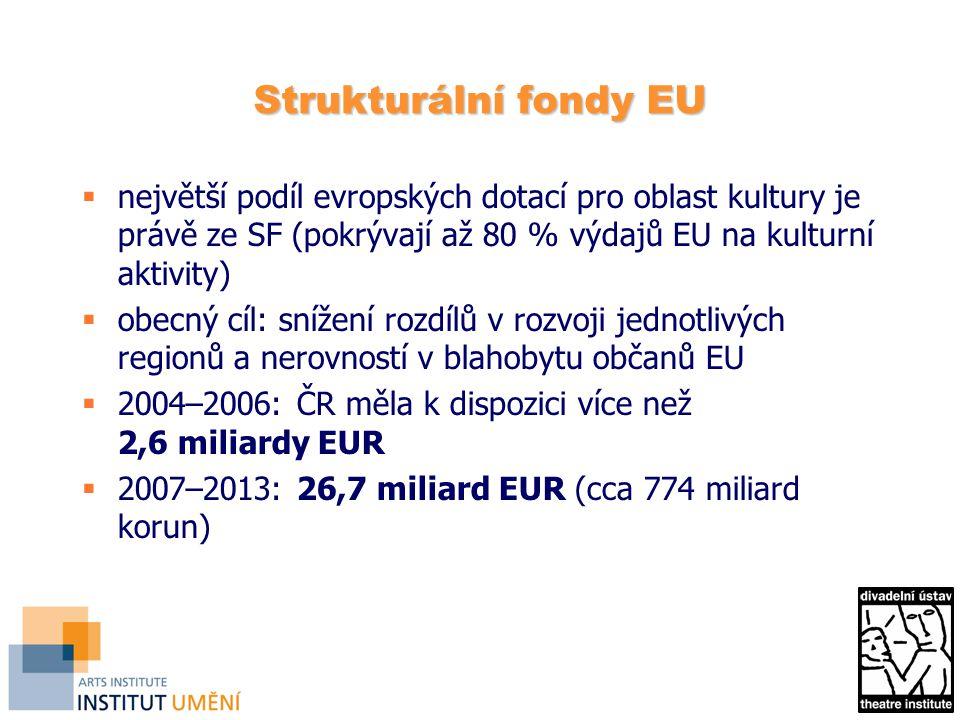 Strukturální fondy EU největší podíl evropských dotací pro oblast kultury je právě ze SF (pokrývají až 80 % výdajů EU na kulturní aktivity)