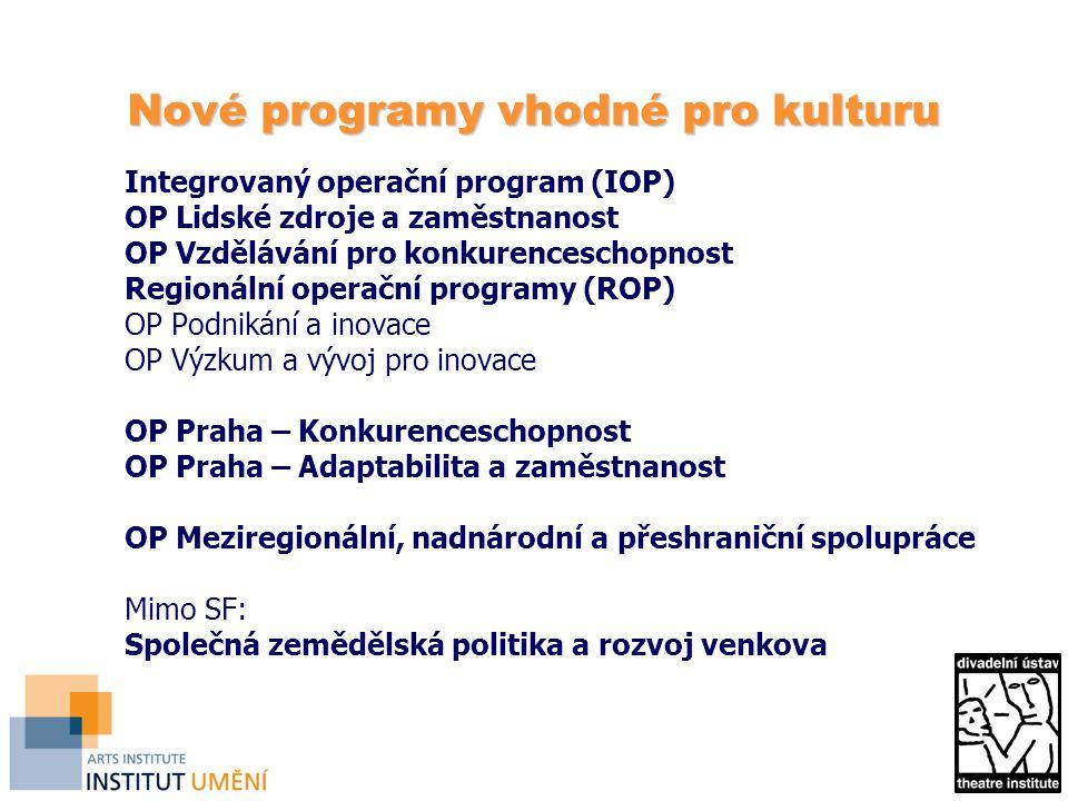 Nové programy vhodné pro kulturu