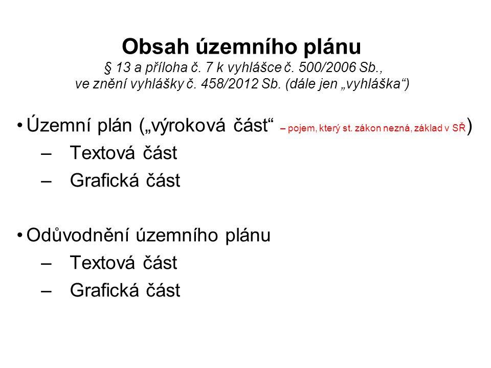 Obsah územního plánu § 13 a příloha č. 7 k vyhlášce č. 500/2006 Sb