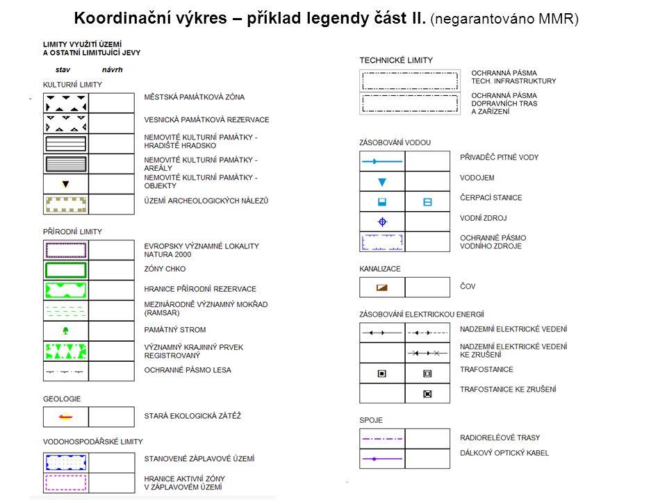 Koordinační výkres – příklad legendy část II. (negarantováno MMR)