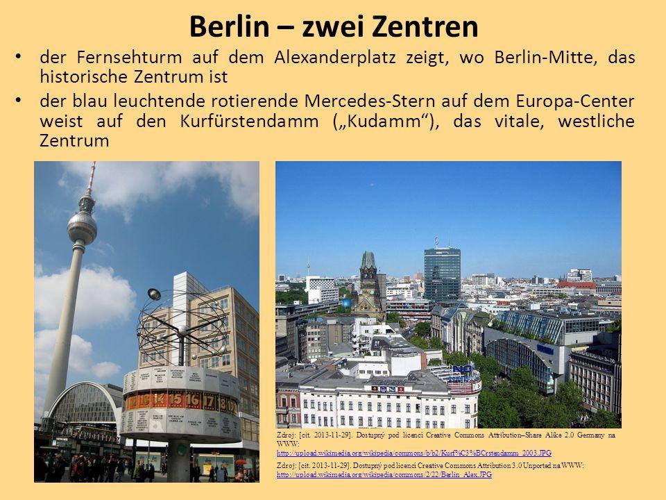 Berlin – zwei Zentren der Fernsehturm auf dem Alexanderplatz zeigt, wo Berlin-Mitte, das historische Zentrum ist.