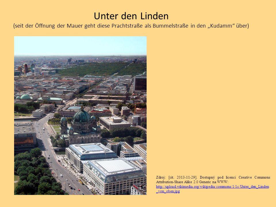 """Unter den Linden (seit der Öffnung der Mauer geht diese Prachtstraße als Bummelstraße in den """"Kudamm über)"""