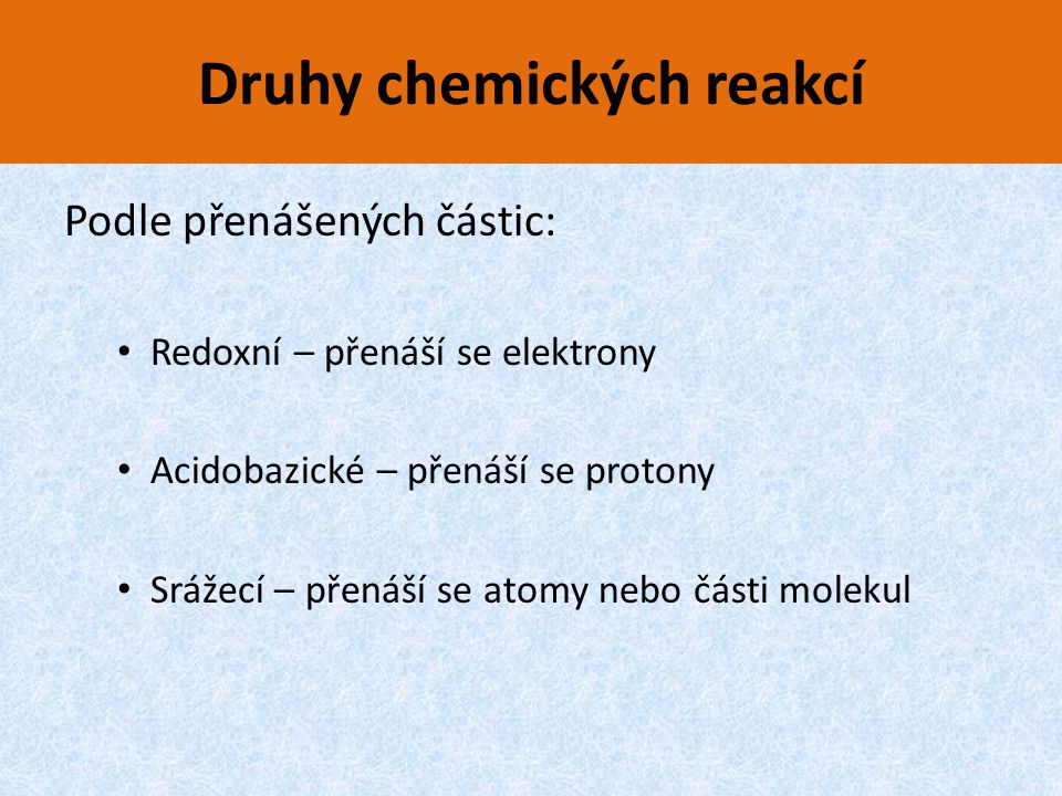 Druhy chemických reakcí