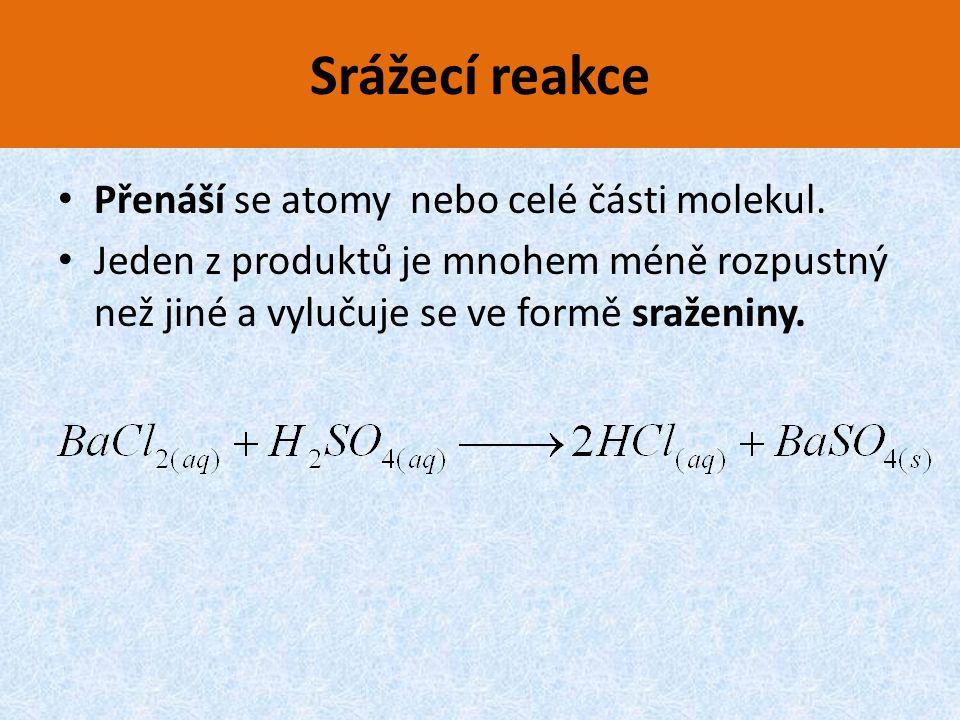 Srážecí reakce Přenáší se atomy nebo celé části molekul.