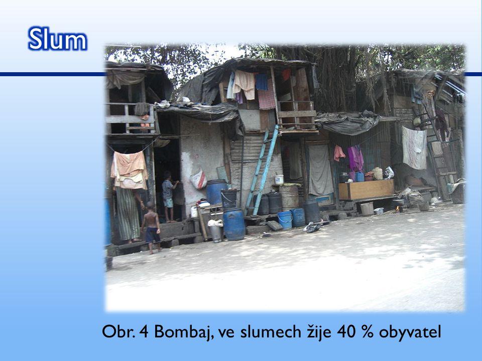 Slum Obr. 4 Bombaj, ve slumech žije 40 % obyvatel