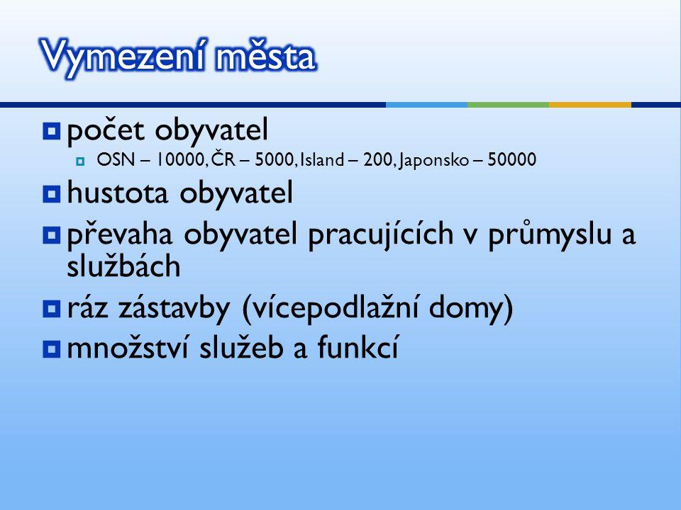 Vymezení města počet obyvatel hustota obyvatel