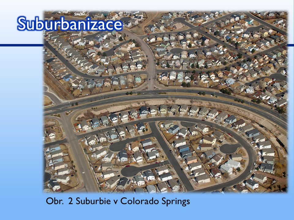 Suburbanizace Obr. 2 Suburbie v Colorado Springs