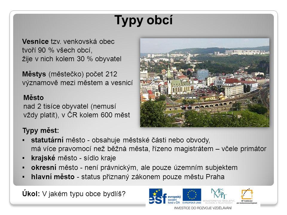 Typy obcí Vesnice tzv. venkovská obec tvoří 90 % všech obcí, žije v nich kolem 30 % obyvatel. Městys (městečko) počet 212.