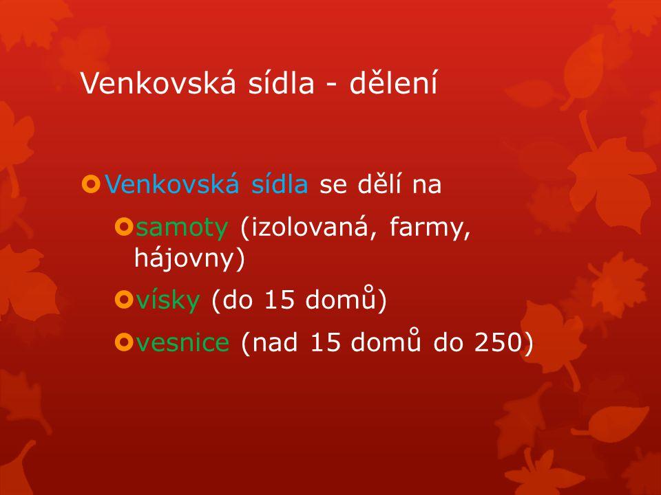 Venkovská sídla - dělení