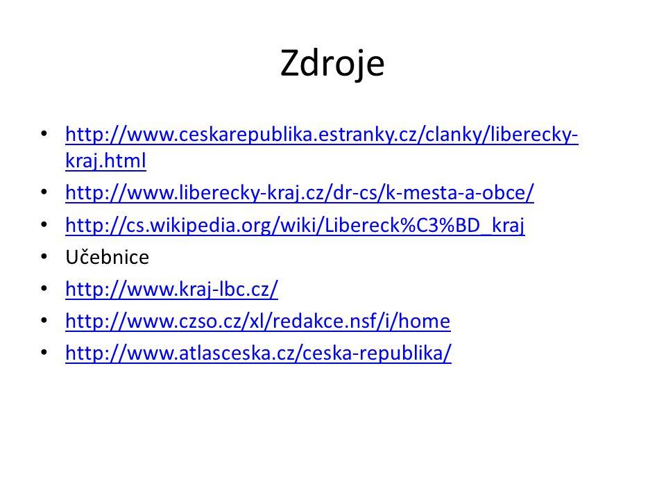 Zdroje http://www.ceskarepublika.estranky.cz/clanky/liberecky-kraj.html. http://www.liberecky-kraj.cz/dr-cs/k-mesta-a-obce/