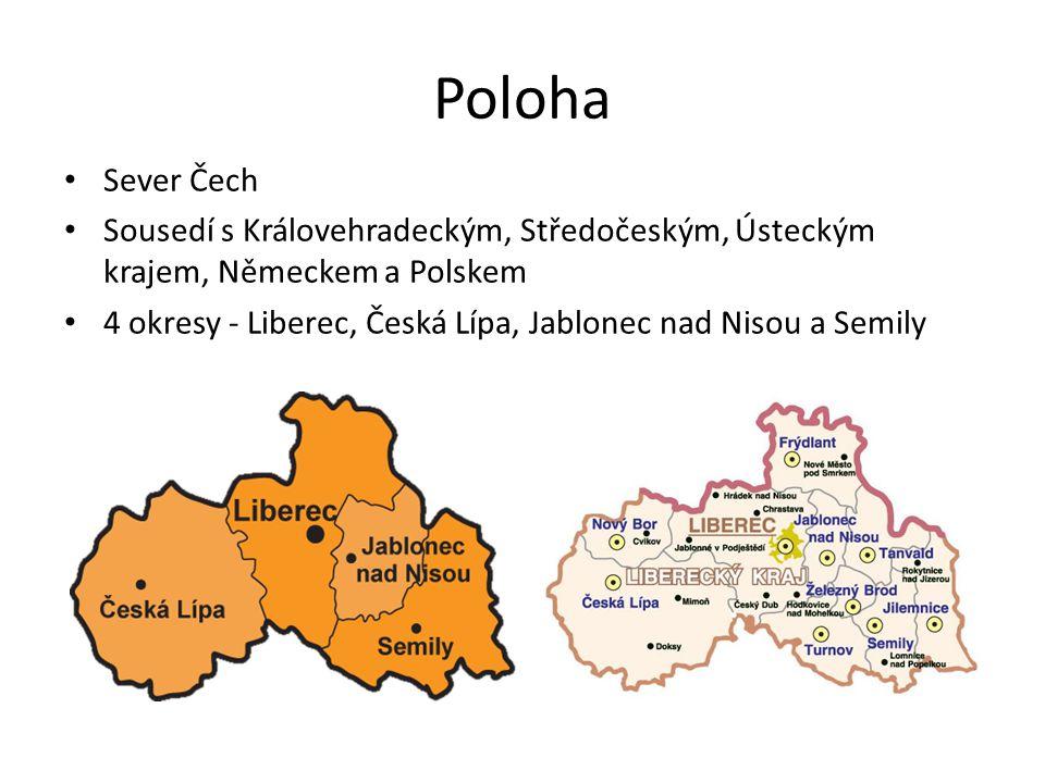 Poloha Sever Čech. Sousedí s Královehradeckým, Středočeským, Ústeckým krajem, Německem a Polskem.