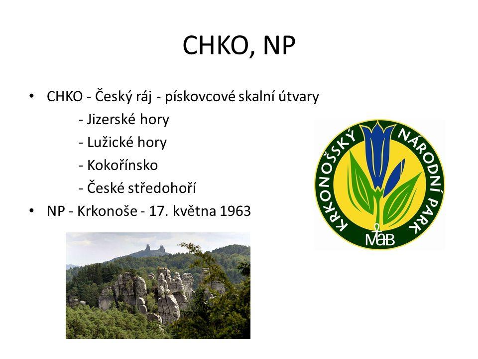 CHKO, NP CHKO - Český ráj - pískovcové skalní útvary - Jizerské hory