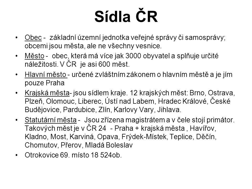 Sídla ČR Obec - základní územní jednotka veřejné správy či samosprávy; obcemi jsou města, ale ne všechny vesnice.
