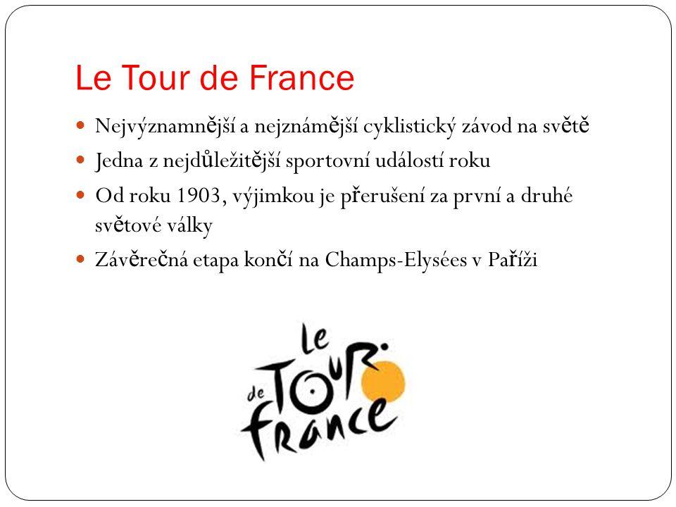 Le Tour de France Nejvýznamnější a nejznámější cyklistický závod na světě. Jedna z nejdůležitější sportovní událostí roku.