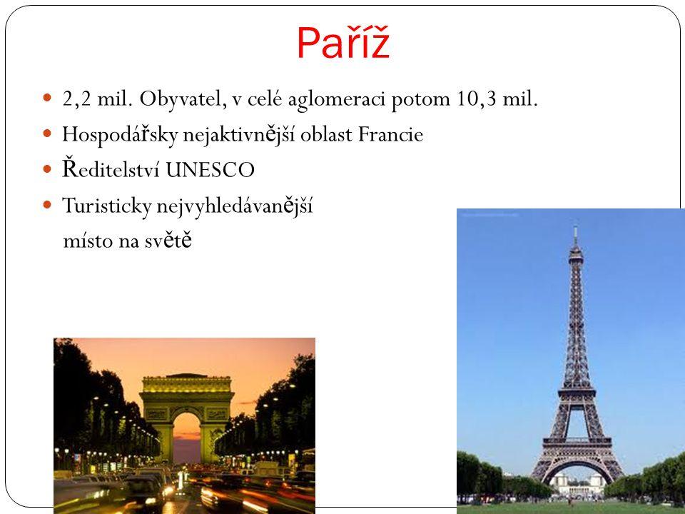 Paříž 2,2 mil. Obyvatel, v celé aglomeraci potom 10,3 mil.