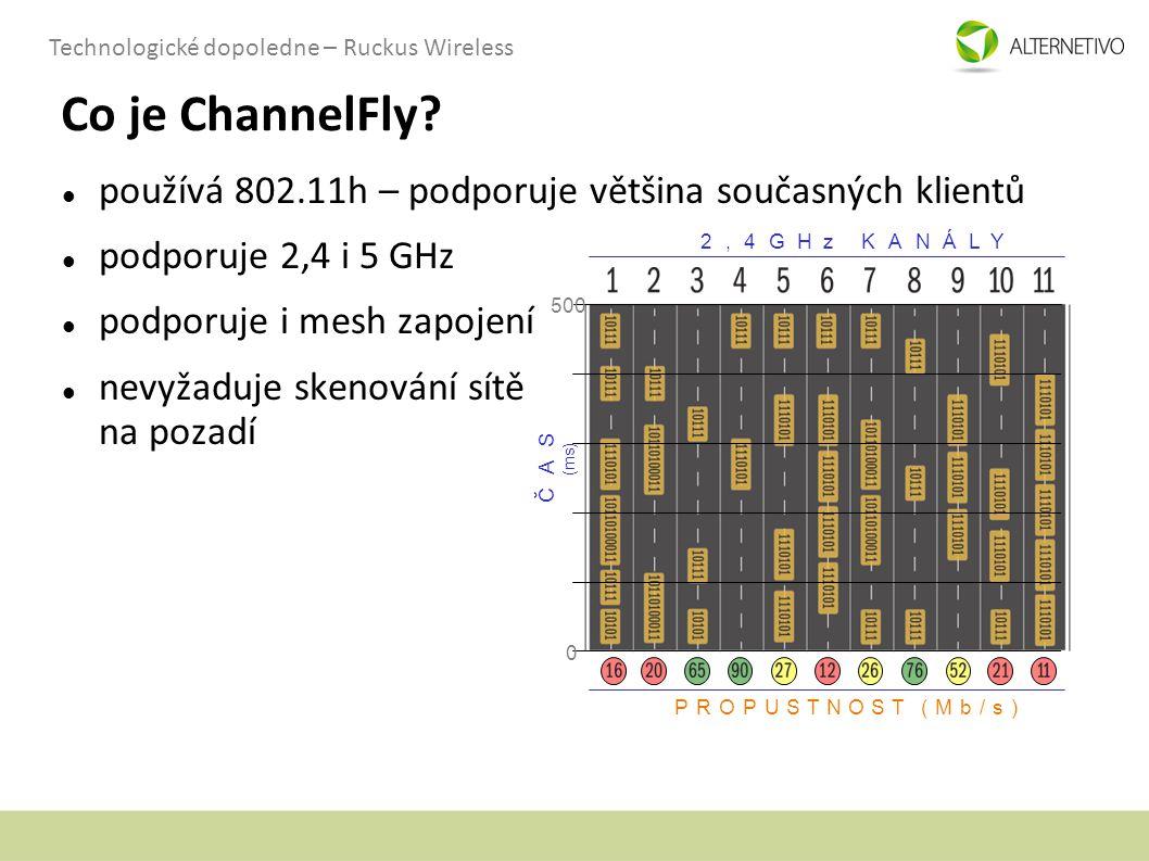 Co je ChannelFly používá 802.11h – podporuje většina současných klientů. podporuje 2,4 i 5 GHz. podporuje i mesh zapojení.