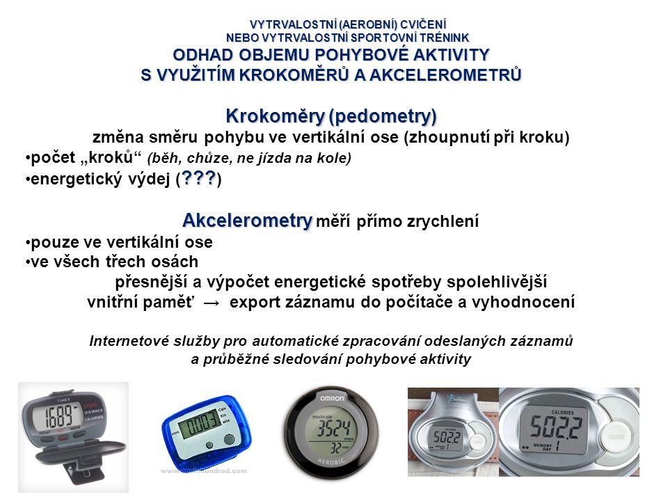 Krokoměry (pedometry) Akcelerometry měří přímo zrychlení