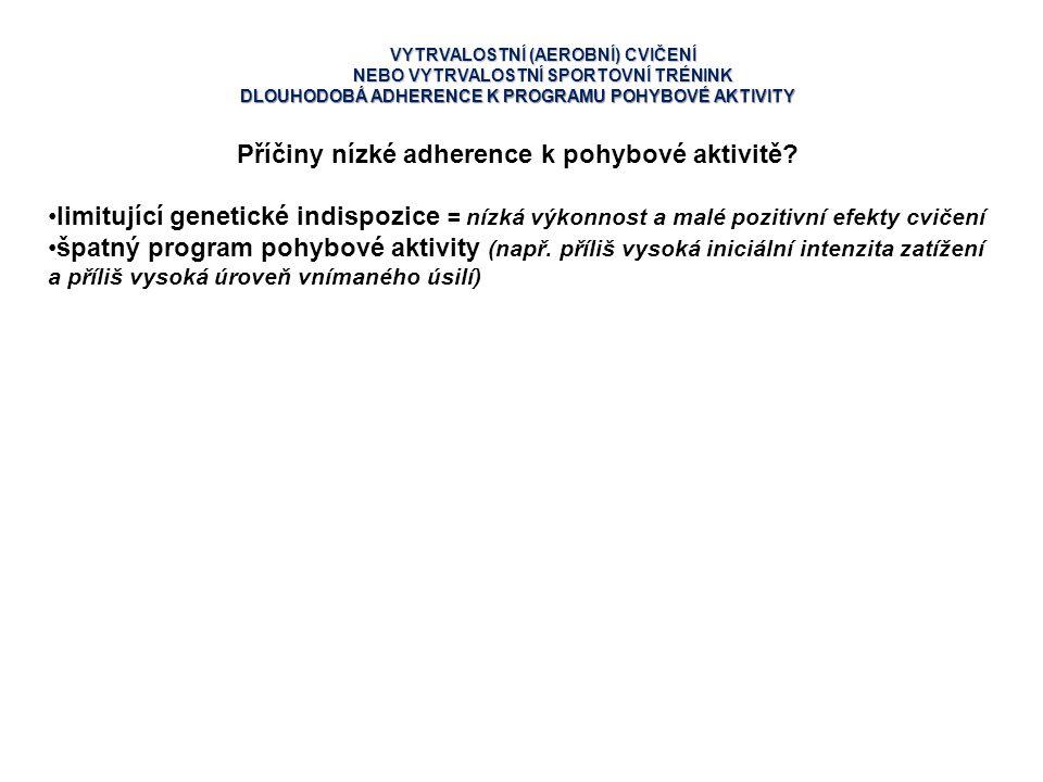 Příčiny nízké adherence k pohybové aktivitě