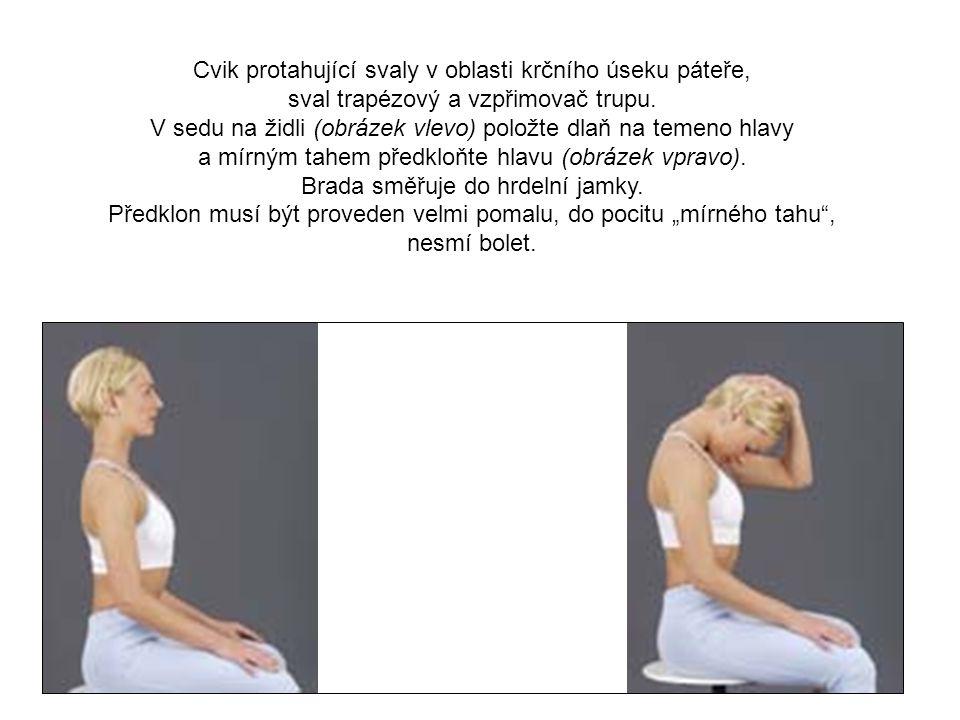 Cvik protahující svaly v oblasti krčního úseku páteře,
