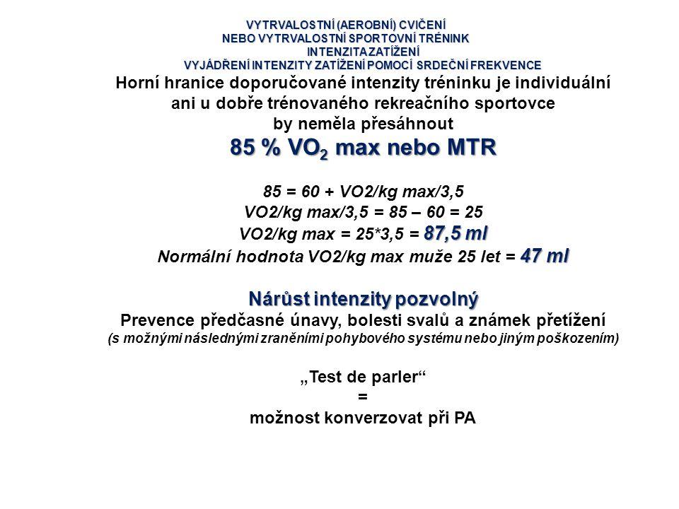 85 % VO2 max nebo MTR Nárůst intenzity pozvolný