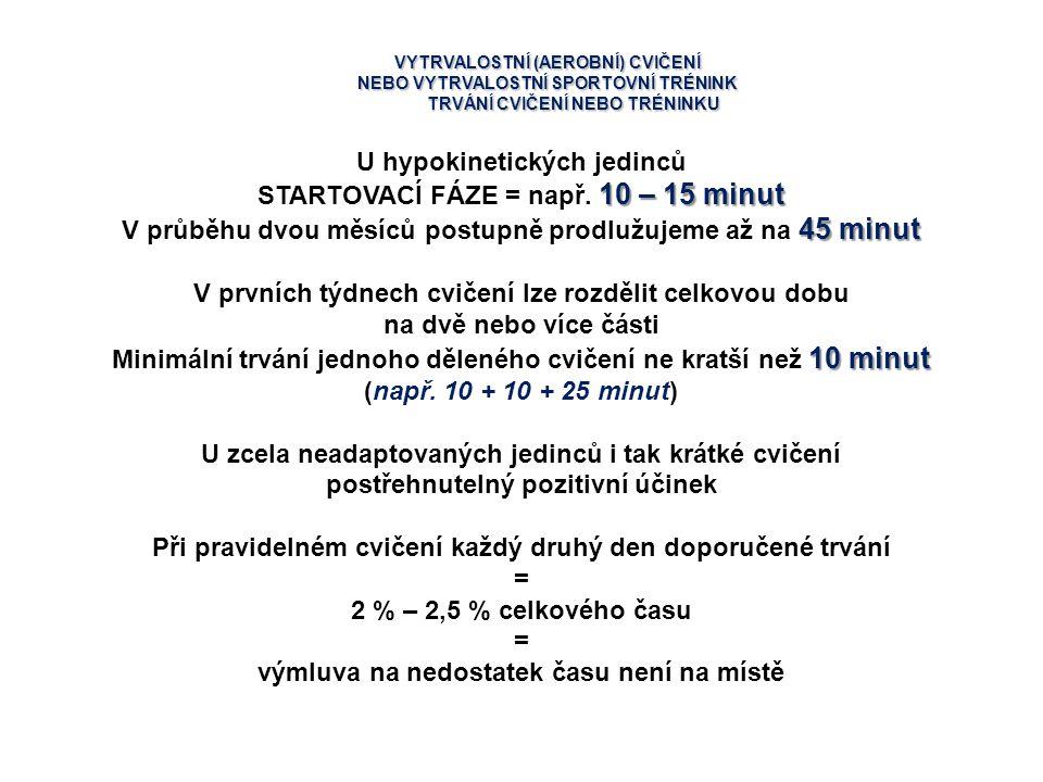 U hypokinetických jedinců STARTOVACÍ FÁZE = např. 10 – 15 minut