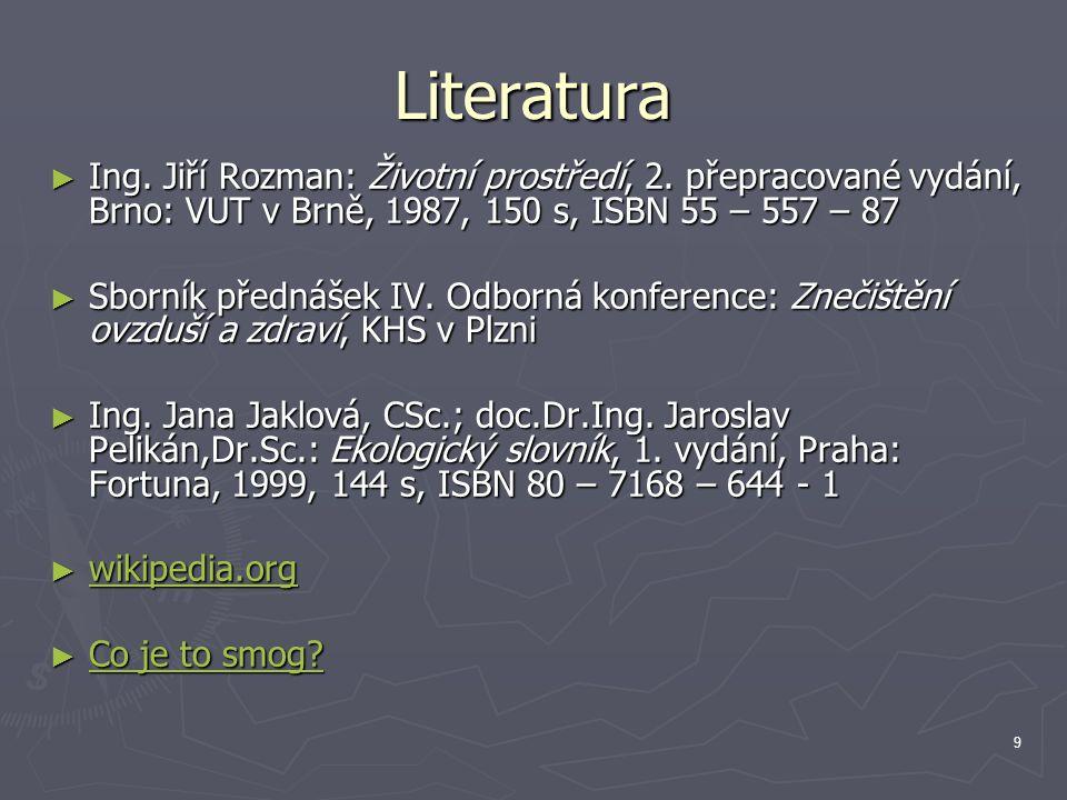 Literatura Ing. Jiří Rozman: Životní prostředí, 2. přepracované vydání, Brno: VUT v Brně, 1987, 150 s, ISBN 55 – 557 – 87.