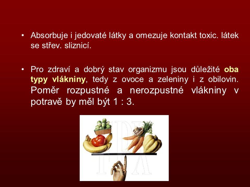 Absorbuje i jedovaté látky a omezuje kontakt toxic. látek se střev