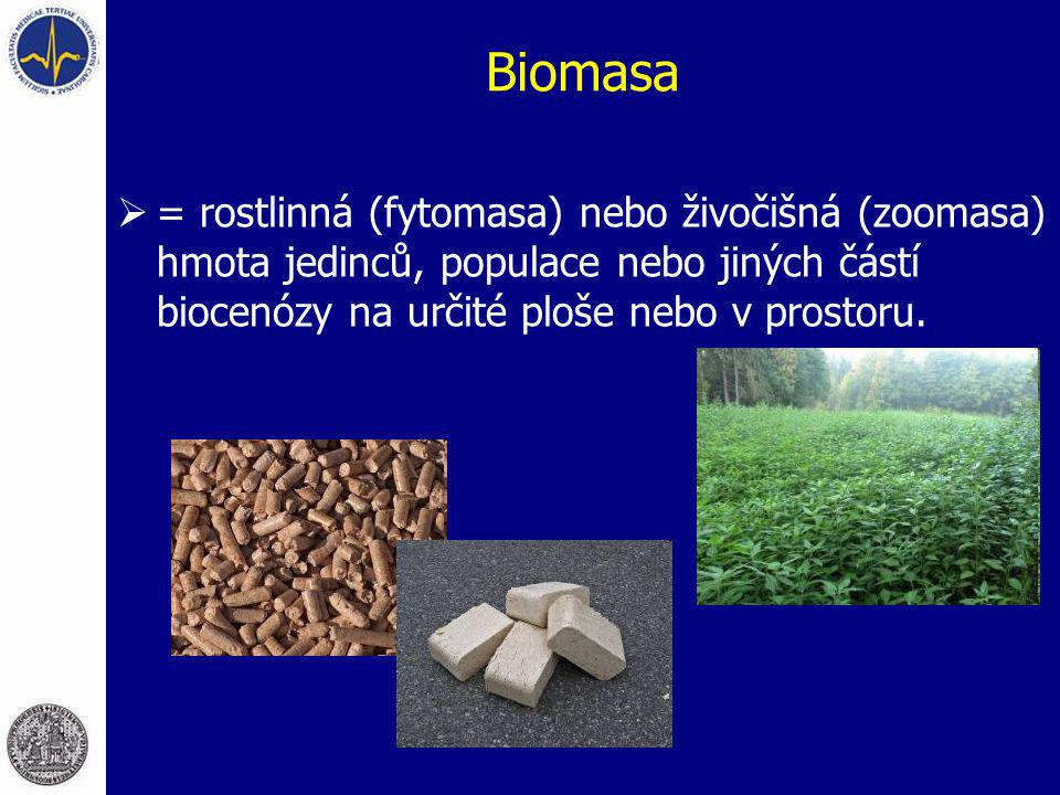 Biomasa = rostlinná (fytomasa) nebo živočišná (zoomasa) hmota jedinců, populace nebo jiných částí biocenózy na určité ploše nebo v prostoru.