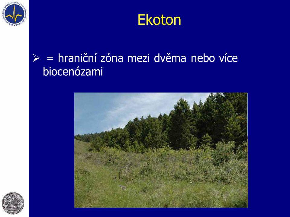 Ekoton = hraniční zóna mezi dvěma nebo více biocenózami