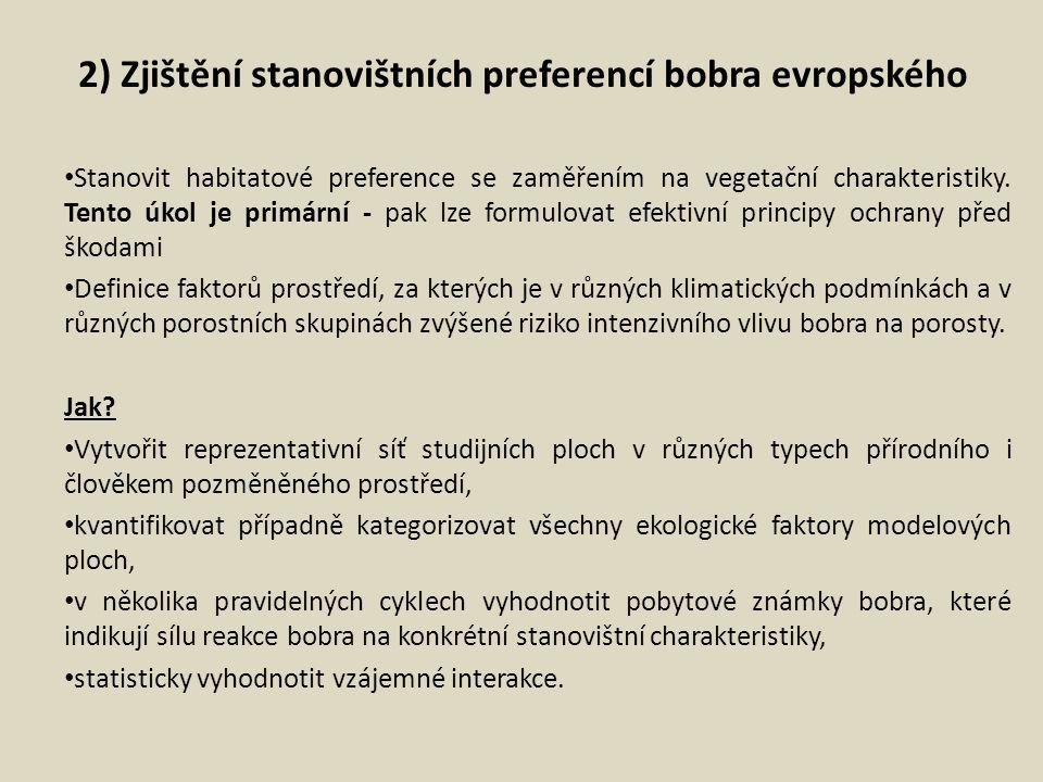 2) Zjištění stanovištních preferencí bobra evropského