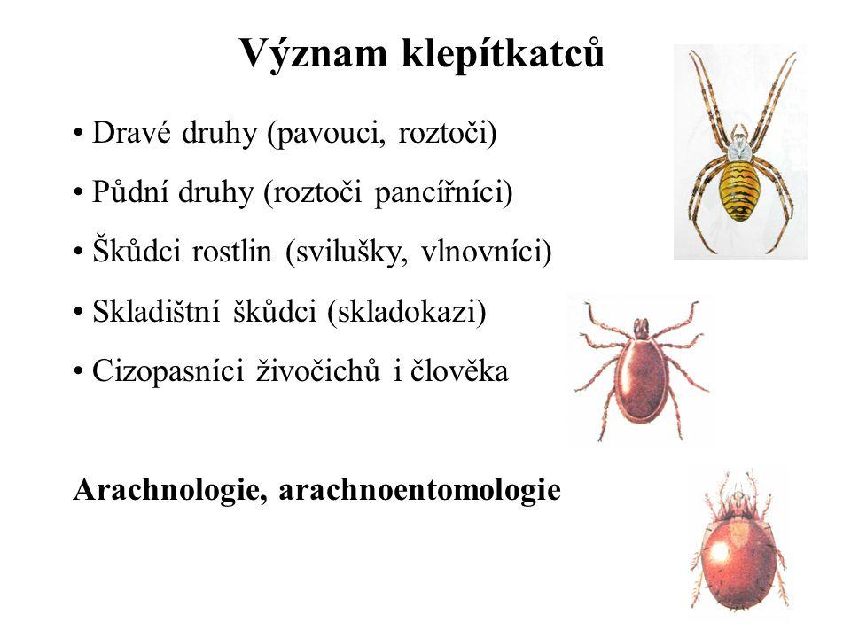 Význam klepítkatců Dravé druhy (pavouci, roztoči)