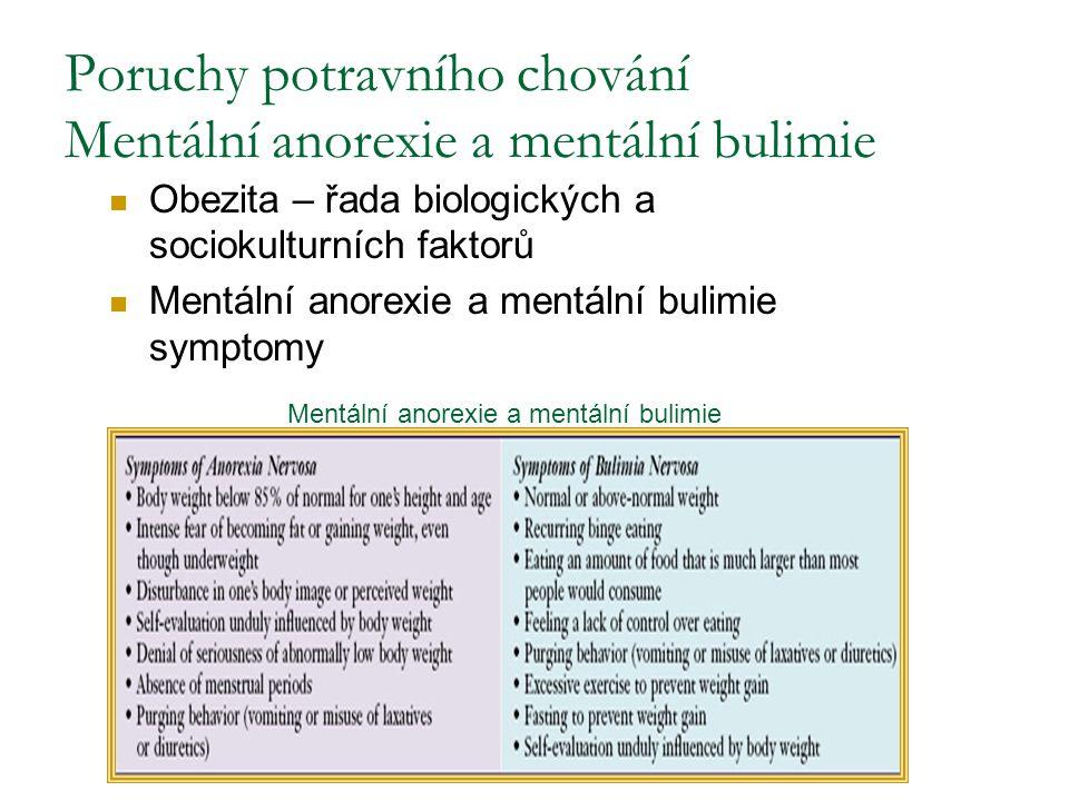 Poruchy potravního chování Mentální anorexie a mentální bulimie