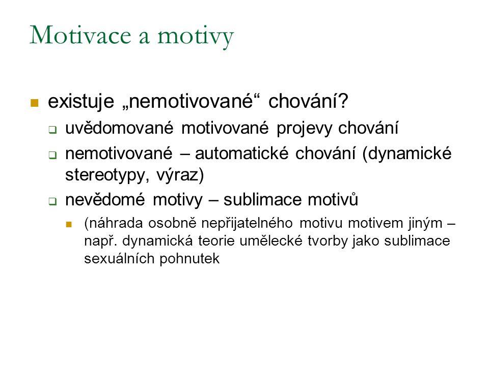 """Motivace a motivy existuje """"nemotivované chování"""