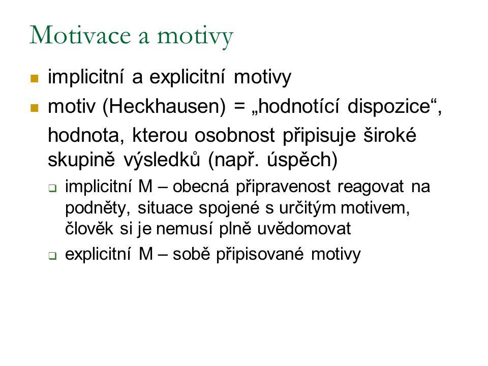Motivace a motivy implicitní a explicitní motivy