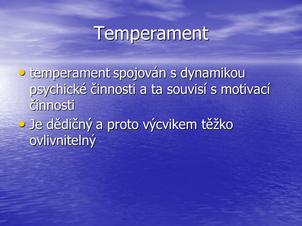 Temperament temperament spojován s dynamikou psychické činnosti a ta souvisí s motivací činnosti.