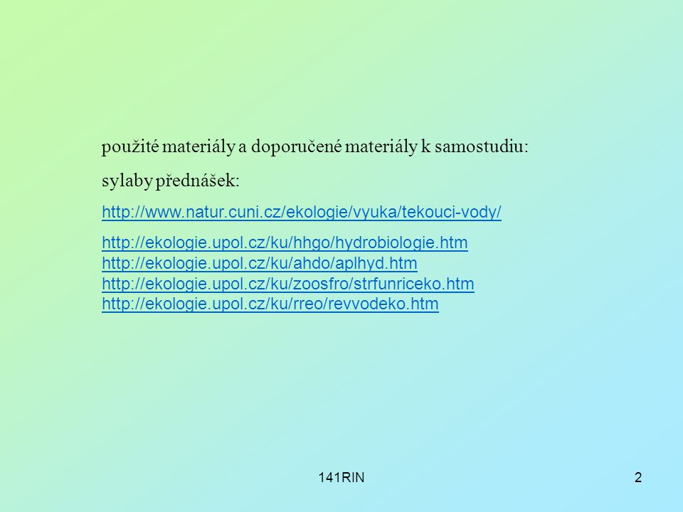 použité materiály a doporučené materiály k samostudiu: