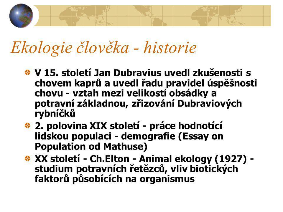 Ekologie člověka - historie