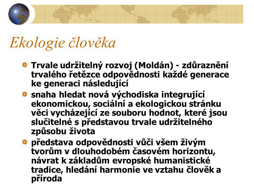 Ekologie člověka Trvale udržitelný rozvoj (Moldán) - zdůraznění trvalého řetězce odpovědnosti každé generace ke generaci následující.