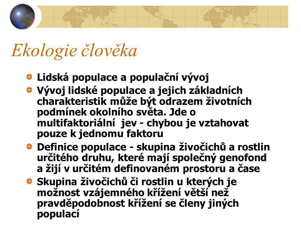 Ekologie člověka Lidská populace a populační vývoj