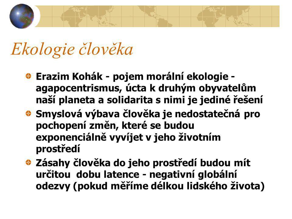 Ekologie člověka Erazim Kohák - pojem morální ekologie - agapocentrismus, úcta k druhým obyvatelům naší planeta a solidarita s nimi je jediné řešení.