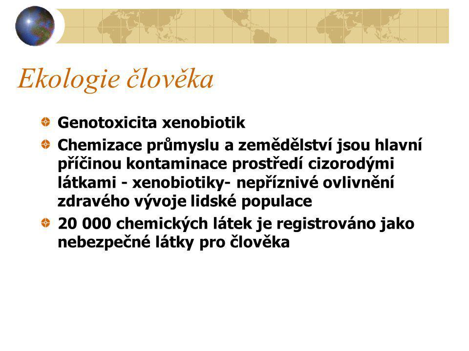 Ekologie člověka Genotoxicita xenobiotik